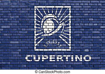 ペイントされた, れんが, 旗, 壁, cupertino