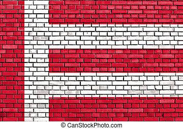 ペイントされた, れんが, 旗, 壁, eindhoven
