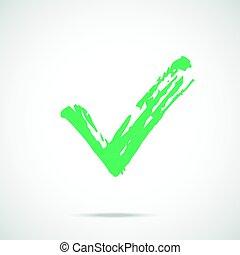 ペイントされた, シンボル。, 印, ストローク, ベクトル, 緑, ブラシ, icon., カチカチいいなさい, 点検, アイコン