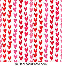 ペイントされた, パターン, 手, hearts., velentine's, 日