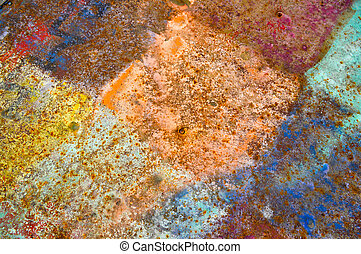 ペイントされた, 作られた, 古い, ぼろぼろ, パターン, 壁, 皮, rhombuses, 金属, brown., 手ざわり, 正方形, ペンキ, 錆ついた, 黄色, 鉄, 背景, シート, 有色人種, 青