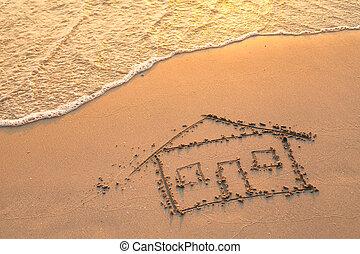 ペイントされた, 家, 浜, sand.