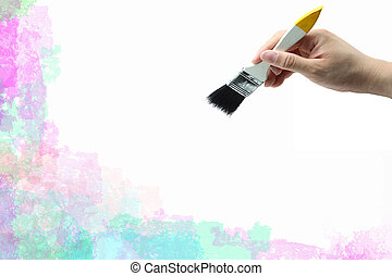 ペイントされた, 抽象的, 手, 水彩画のブラシ, 背景