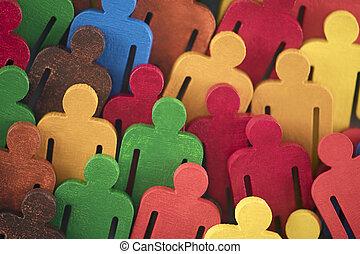 ペイントされた, 数字, グループ, カラフルである, 人々