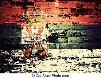 ペイントされた, 旗, セルビア, 壁, れんが