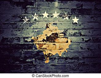 ペイントされた, 旗, kosovo, 壁, れんが