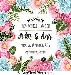 ペイントされた, 花, 招待, カード, 結婚式