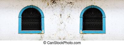 ペイントされた, 鉄製品, バー, 窓, 青, handworked, 古い