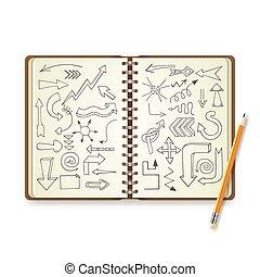 ペイントされた, 鉛筆, ノート, 矢, 開いた