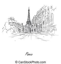 ペイントされた, 鉛筆, パリ, 都市, スケッチ, 美しい, ペーパー
