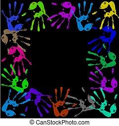 ペイントされた, handprints