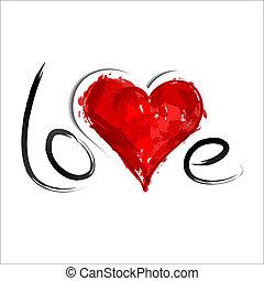 ペイントされた, heart., 愛, 赤