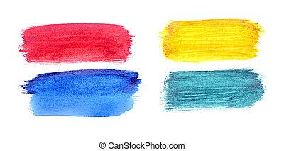 ペイントされた, set., 隔離された, 手, 水彩画, ストローク, ブラシ, 背景, 白