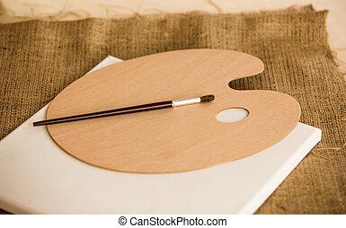 ペイントブラシ, あること, 上に, 木製である, パレット, ∥において∥, 芸術の スタジオ