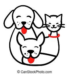 ペット, 動物, ラウンド, 動物, ねこ, 面白い, 幸せ, illustration., スケッチ, ベクトル, 白, 隔離された, 犬, 一緒に, いたずら書き, ロゴ, 線, 3, 引かれる, アウトライン, 背景, 国内, highlights., card., 手