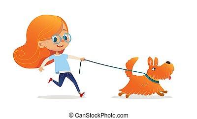 ペット, 女の子, 子供, 白, カラフルである, ベクトル, leash., 隔離された, 赤, promenade., 毛, 楽しむこと, 漫画, redhead, 平ら, 所有者, ガラス, illustration., バックグラウンド。, 歩くこと, 子供, 子犬, わずかしか, 犬, 面白い