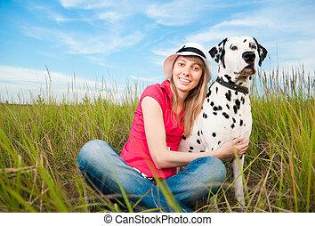 ペット, 女, 若い, 彼女, 犬