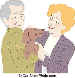 ペット, 年長の カップル, イラスト, 犬