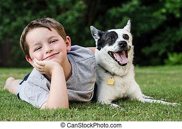 ペット, 彼の, 遊び, 犬, 子供
