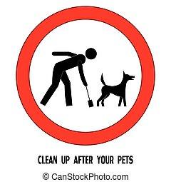 ペット, 後で, 犬, の上, ベクトル, きれいにしなさい, 印, あなたの