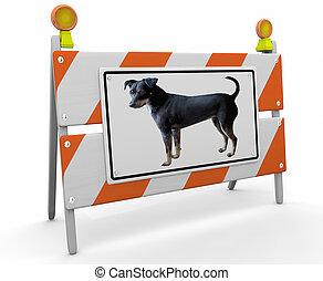 ペット, 犬, イラスト, 印, 建設, バリケード, 動物交雑, 3d