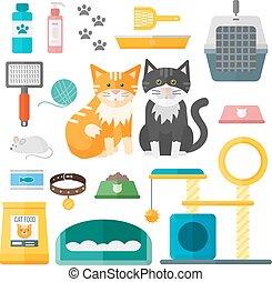 ペット, set., 付属品, ねこ, 装置, ベクトル, 動物, 供給, 手入れをすること, 道具, 心配