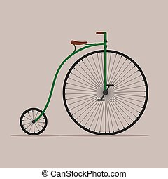 ペニー, 自転車, 古い, 車輪, 自転車, 隔離された, 背景, 高く, bike., 型, farthing, illustartion, ベクトル, レトロ