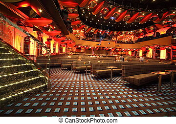 ペルシャ湾, -, 4 月, 14:, 人々, コーチ, そして, テーブル, 中に, 大きい, 照らされた, ホール,...