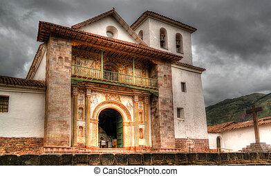 ペルー, st. 。, cuzco, 教会, ファサド, ピーター, andahuaylillas, 光景