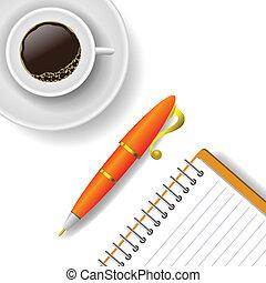 ペンのコップ, コーヒー