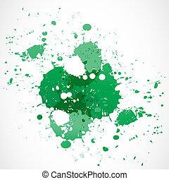 ペンキのしぶき, デザイン, 緑