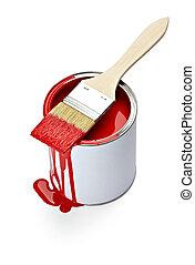 ペンキの錫, 色, 缶, ブラシ