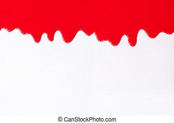 ペンキ, したたり, 赤, white.