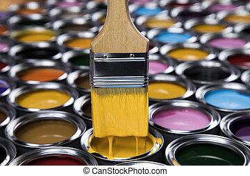 ペンキ ブラシ, ブリキ缶, そして, 色, ガイド, サンプル