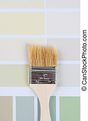 ペンキ ブラシ, 上に, サンプルに色を塗りなさい