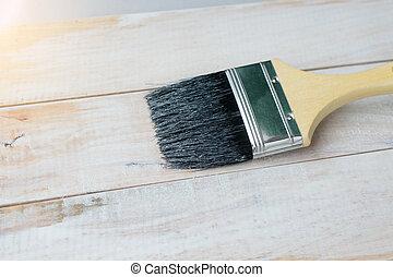 ペンキ ブラシ, wood.