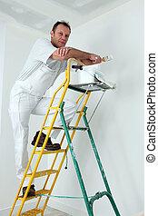 ペンキ, 天井, はしご, 画家, 上昇