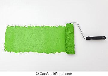 ペンキ, 白, 緑, ローラー, 背景