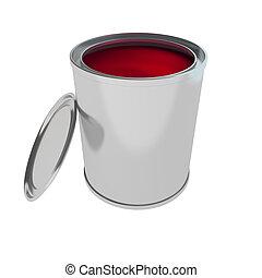 ペンキ, 白, 隔離された, 赤, 缶