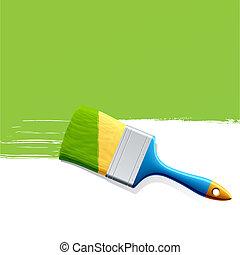 ペンキ, 緑, ブラシ
