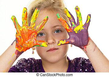 ペンキ, 色, 指, 子供