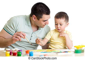 ペンキ, 色, 父, 遊び, 子供