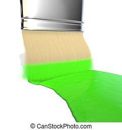 ペンキ, 色, 緑, ブラシ