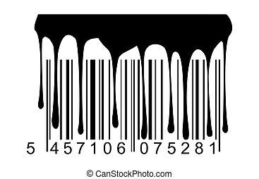 ペンキ, barcode, 黒, 滴り