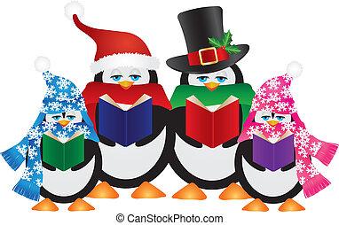 ペンギン, クリスマス, イラスト, carolers