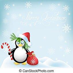 ペンギン, 帽子, santa, キャンデー, クリスマス