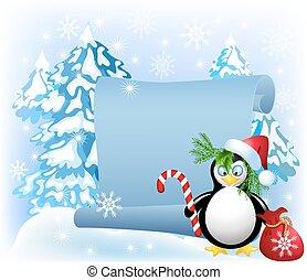 ペンギン, 森林, キャンデー, クリスマス