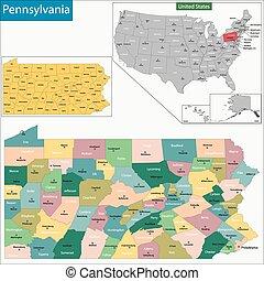 ペンシルバニアの地図