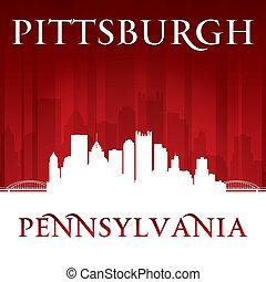 ペンシルバニア, 背景, スカイライン, 都市, 赤, ピッツバーグ, シルエット