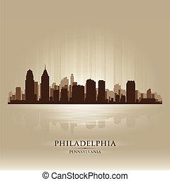 ペンシルバニア, 都市, フィラデルフィア, シルエット, スカイライン